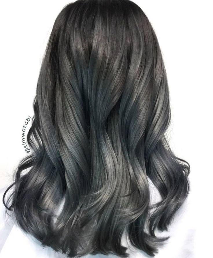 Smoky Grey Color by Kimemily Pham using #KenraColor Demi #Metallics.   Formula:  1) Pre-tone with SV Rapid Toner and then dry hair completely.  2) Apply the base color of equal amounts of 7SM + 7VM and 2 lines of both Blue and Violet Booster.  3) Apply in Zones 2 & 3: equal parts of 8SM and 10SM plus two dots of Blue Booster and 1 dot of Violet Booster.