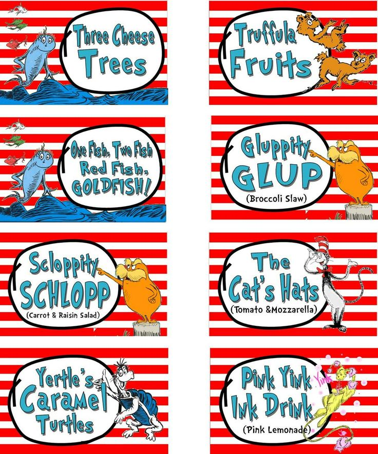 Dr. Suess Cat In The Hat Party Food Labels Printable By