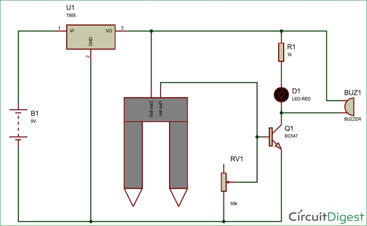 Simple Soil Moisture Detector Circuit diagram