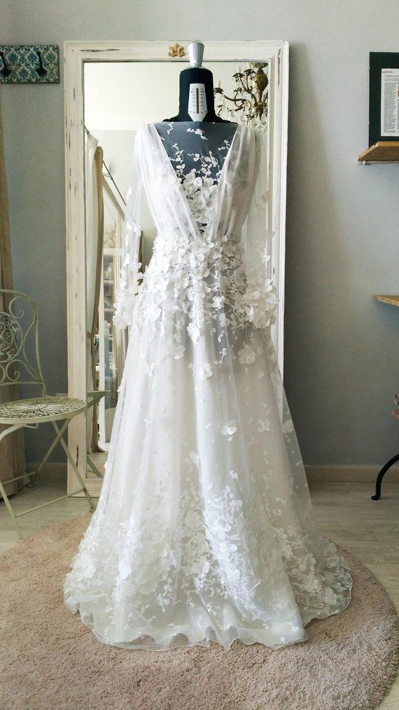 3d Lace Wedding Dress Bride Dress Lace Flowers Organza Wedding