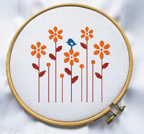 Flor y pájaro cruz puntada patrón, descarga instantánea, ¡ envíos gratis, contada cruz puntada, punto de Cruz PDF, MCS111