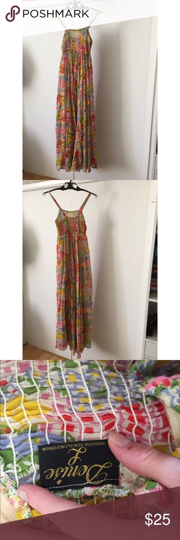 """*VINTAGE* 70's Floral Dress So fun! Vintage 70's floral dress. Floor length. It is pretty transparent so it would be best with a slip or worn as a cover up at the beach. I am 5'8"""" and it almost hits the floor on me. Unique Vintage Dresses Maxi"""