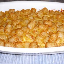 Tater Tot Casserole... Very easy and yummy! U can also make the night before so great for holiday breakfast and with the leftovers I made breakfast burritos out of it !! Yum!