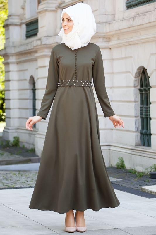 Yaprak - İnci Kemerli Tesettür Elbise Haki 5015