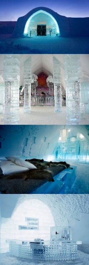 İce Hotel Quebec...İce Hotel Sweden @Christine Ballisty Ballisty Ballisty Ballisty Kolek www.christinekolek.com ...I'd love to stay in a Hotel made of ice !!