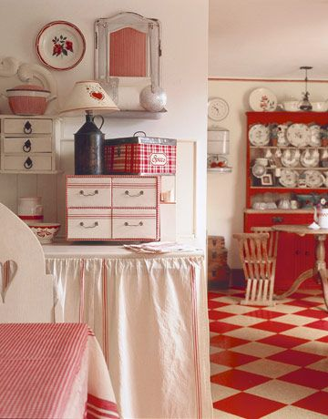 I love it ALL!  plaid tin box, little shelves, little boxes red and cream checkered floor, red and cream dishes, red checked table cloth... ahhh