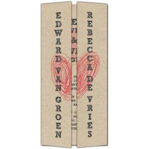 Trouwkaart: Modern/Vintage Hart (Drieluik)