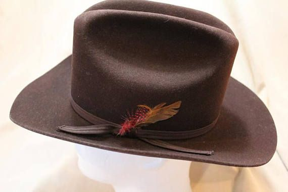 2c11b1917 Vintage Custom Made Bee Hats Dynafelt Deluxe Western Dark Brown Fur ...