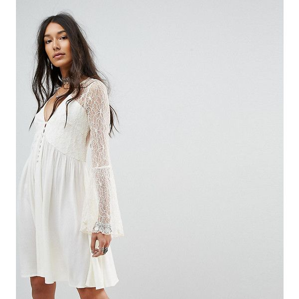 Kiss The Sky Tall Button Front Smock Dress With Lace Panels ($60) ❤ liked on Polyvore featuring dresses, cream, cream dress, button front maxi dress, cream maxi dress, lightweight dresses and braided maxi dress