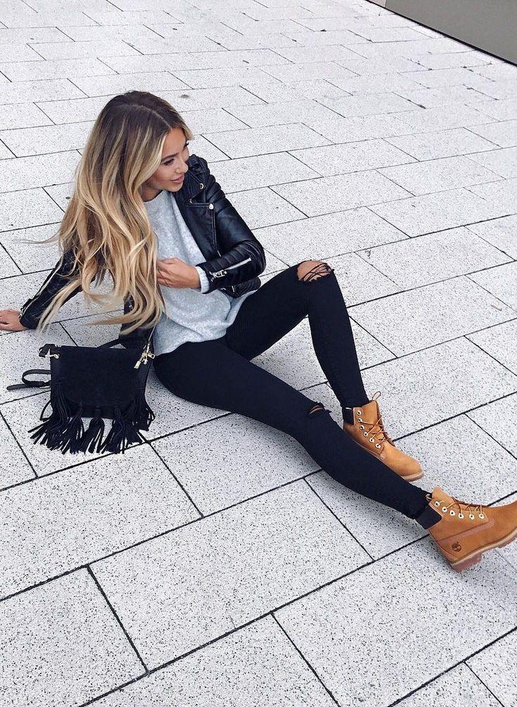 #fall #fashion ·  Leather Jacket + Destroyed Jeans + Shoulder Bag