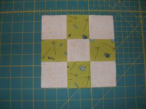 Easy 9-patch quilt block tutorial using strip piecing.
