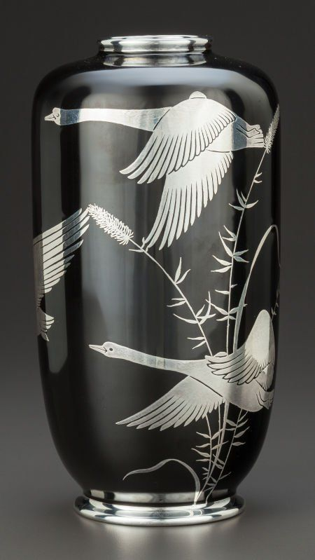 A ROSENTHAL PORCELAIN AND SILVER OVERLAY VASE Rosenthal, Selb, Germany, circa 1920 Marks: Rosenthal Selb-Plossberg Germany