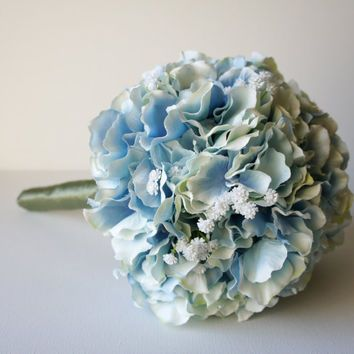 Blue Hydrangea Bouquet, Silk Wedding Flowers, Bridesmaid Bouquet, Rustic Wedding, Vintage Wedding