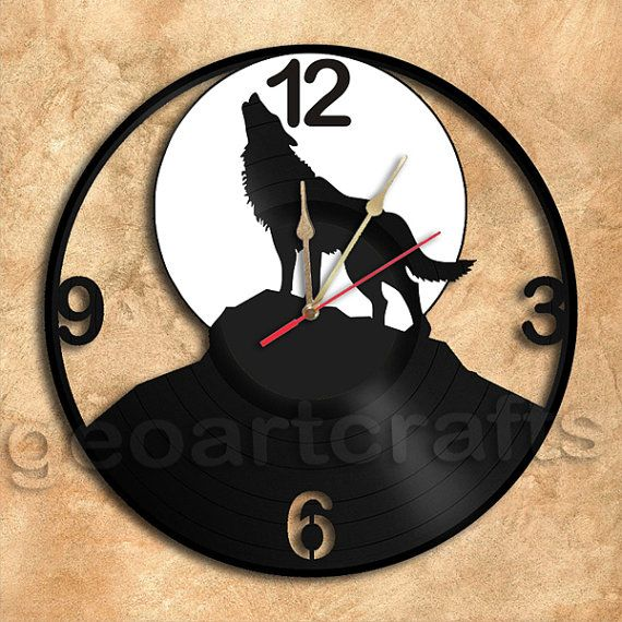 Wolf Silhouette Vinyl Record Clock Upcycled Wall Clock Gift Idea
