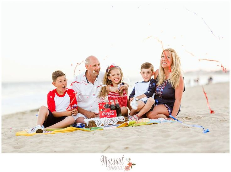 Fourth of July beach family portrait photographed by Massart Photography, a Rhode Island newborn, family and wedding photographer.