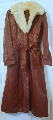 Vtg 1970s 70s Burgundy Leather Jacket Trench Coat 7/8 Size Long Fur Collar Lined