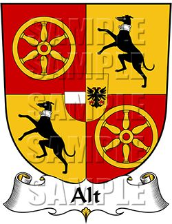 Alt Family Crest apparel, Alt Coat of Arms gifts