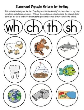 31 FREE consonant digraph pics for sorting.  Adorable and colorful pics