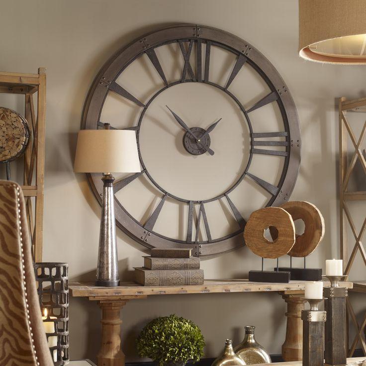 HUGE 60 ROUND METAL WALL CLOCK DARK RUST GRAY FINISH OFFICE GAMEROOM OR HOME