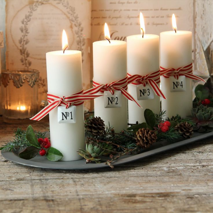 Love the ticking stripe on candles