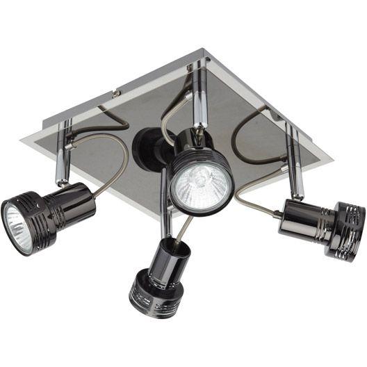 Plafonnier 4 spots GU 10, 4x42W, chromé noir, Bila INSPIRE