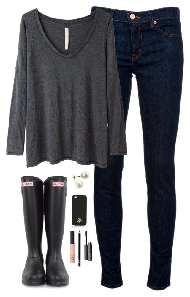 """""""black & grey"""" by classically-preppy ❤ liked on Polyvore featuring J Brand, Raquel Allegra, Hunter, Tory Burch, NARS Cosmetics, women's clothing, women, female, woman and misses"""