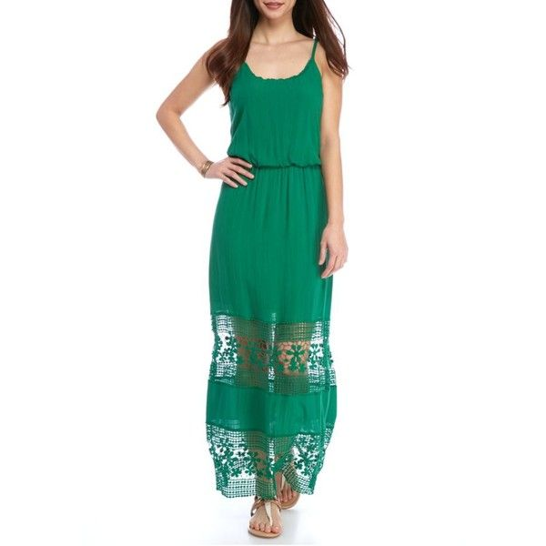New Directions Lamar Green Petite Crochet Inset Maxi Dress ($20) ❤ liked on Polyvore featuring dresses, lamar green, long green dress, crochet dress, white crochet dress, long dresses and petite length maxi dresses