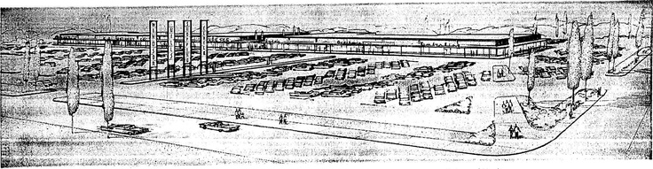 An early sketch of what the Windsor Hills Shopping Center was envisioned as.
