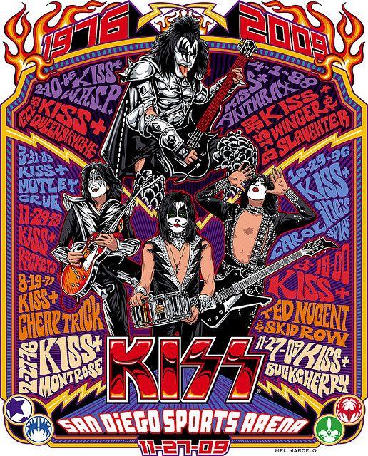 Retro KISS Concert Poster by Mel Marcelo #illustration #retro #poster