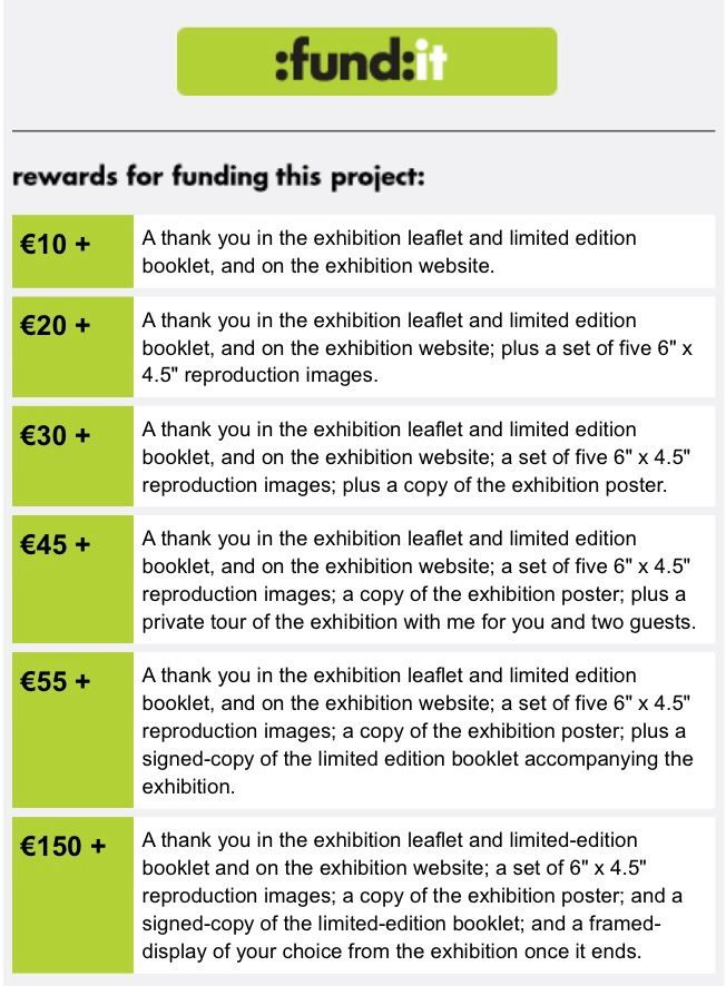 Rewards for supporting the exhibition on crowd-funding website, Fund It.  Visit: http://fundit.ie/project/modern-wife-modern-life-exhibition