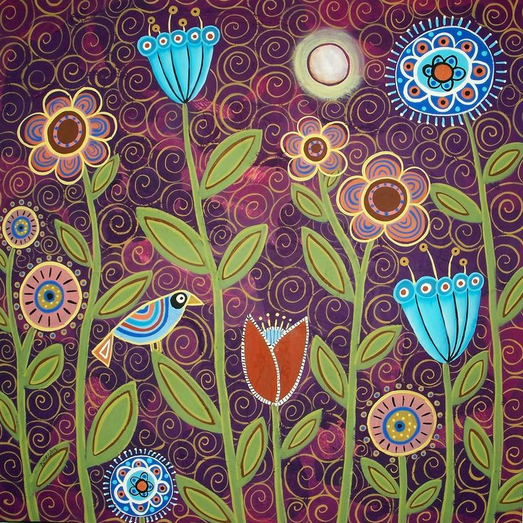 karla gerard art: Moonlit Blooms Textured Painting by Karla Gerard