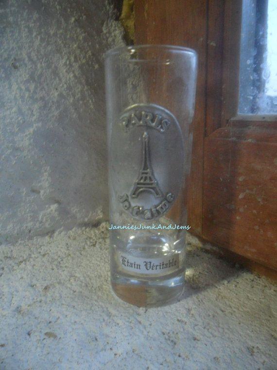 SHOT GLASS  Souvenir Of Eiffel Tower Paris by GlassEyedGoblin, €12.00