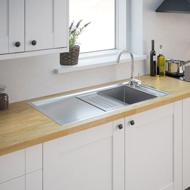 Zlewozmywak stalowy Cooke&Lewis Modern 1-komorowy z ociekaczem i tacką satyna - Stalowe - Zlewozmywaki - Wyposażenie kuchenne - Urządzanie