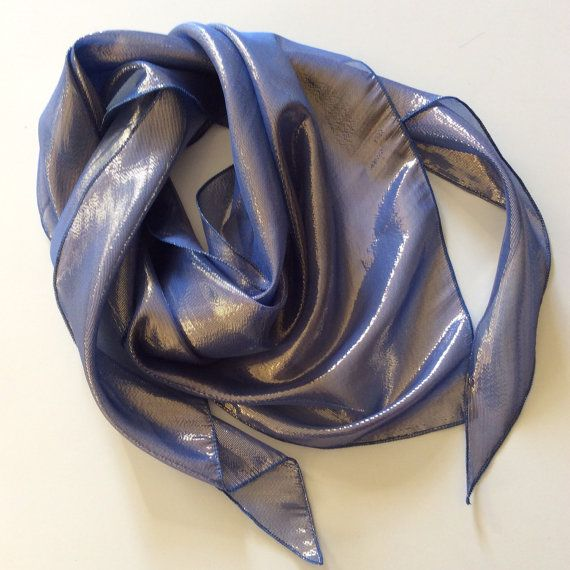 Denim blue silk scarf, Amethyst gift Holiday Gift, Bridesmaid gift, Gift For Wife, Birthday present, Office exchange gift, Scarf under 20