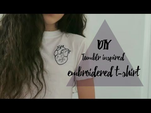 DIY embroidered t-shirt (anatomical heart) // tumblr and brandy melville inspired - YouTube