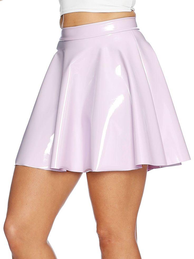 Mauve Pastel PVC Skater Skirt - LIMITED (AU $60AUD / US $40USD) by Black Milk Clothing