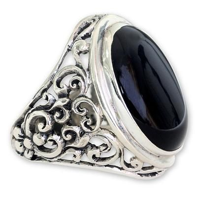 Men's onyx ring, 'Song of the Night' - Men's Handmade Sterling Silver and Onyx Ring (image 2a)