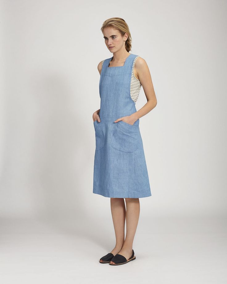Women's Chambray Cotton Linen Dress   Toast