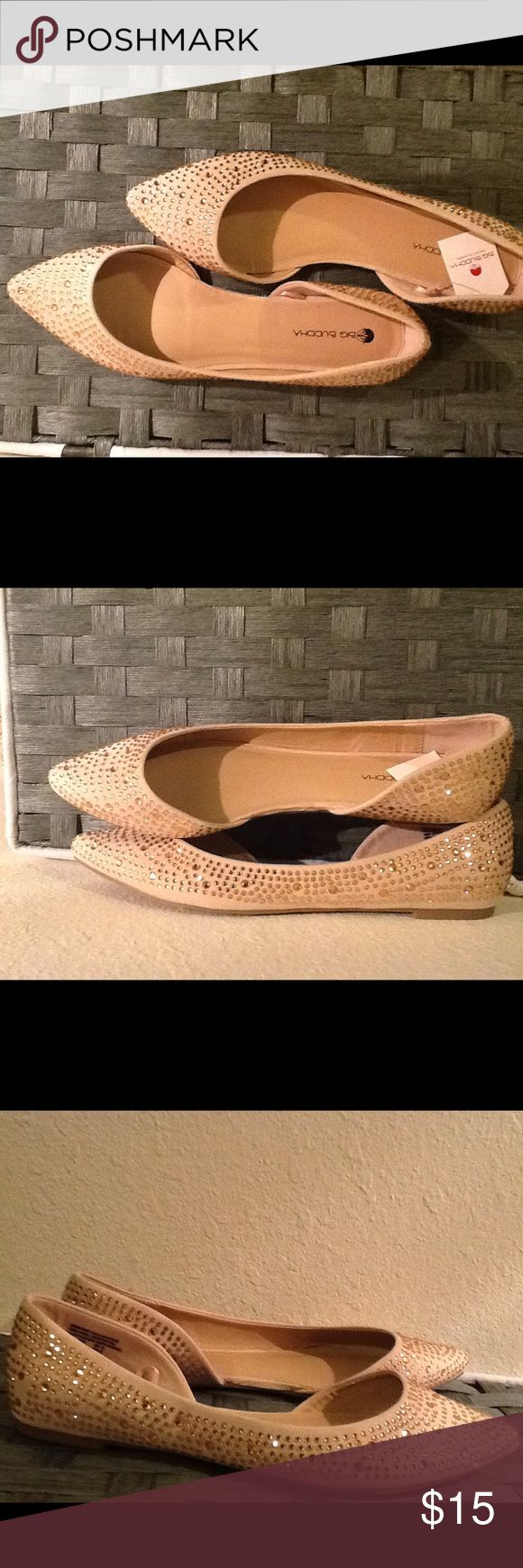Big Buddha flats Pointy shoes, nude color with plastic rose gold stones. Size 10. All man made materials BIG BUDDHA Shoes Flats & Loafers