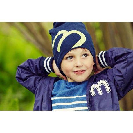 Hat, navy blue/green, Minymo