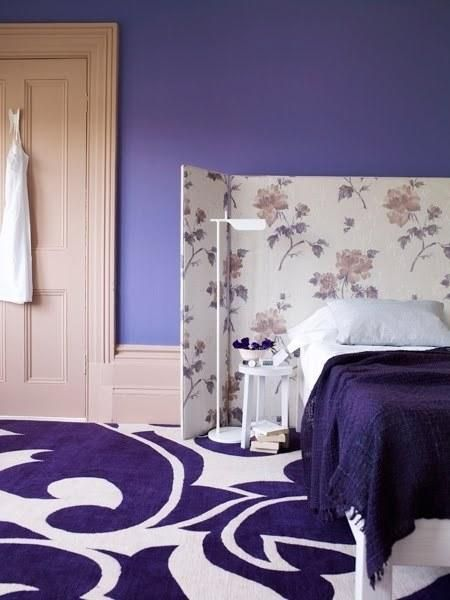 Bedrooms, Purple Bedroom Swirl Rug Screen Uphostered Large Baseboards Well Picture As Your Well Decoration Ideas Purple Color Wall White Concept Bedding Purple Color Blanket Well Lamp On Floor ~ Cool Style Of Inexpensive Headboards That Make Your Concepts Of Bedroom That You Have Looked More Beautiful