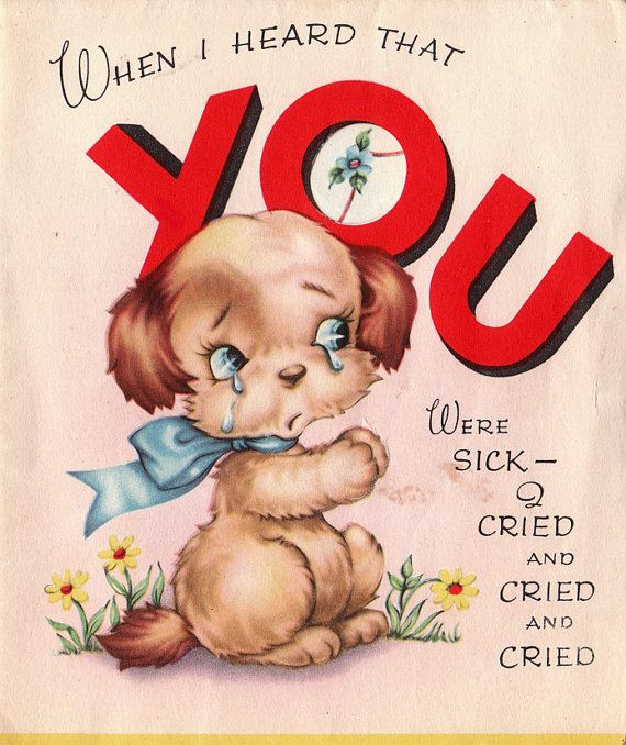 Vintage 1940s Get Well Soon Greetings Card