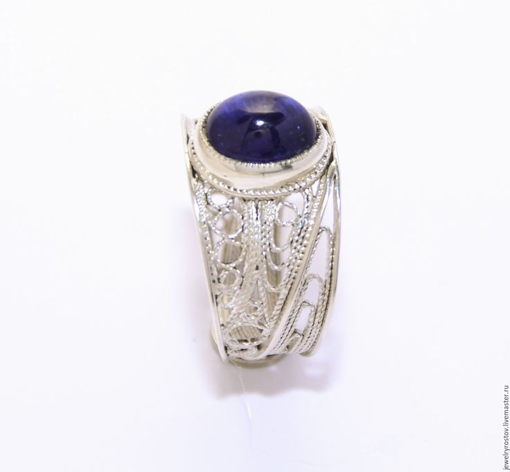 Купить Серебряное кольцо с натуральным сапфиром, техника филигрань! - серебро ручной работы, серебро925