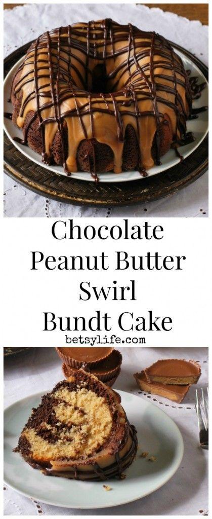 Chocolate Peanut Butter Swirl Bundt Cake. This dessert recipe is to die for! Peanut butter ganache anyone?