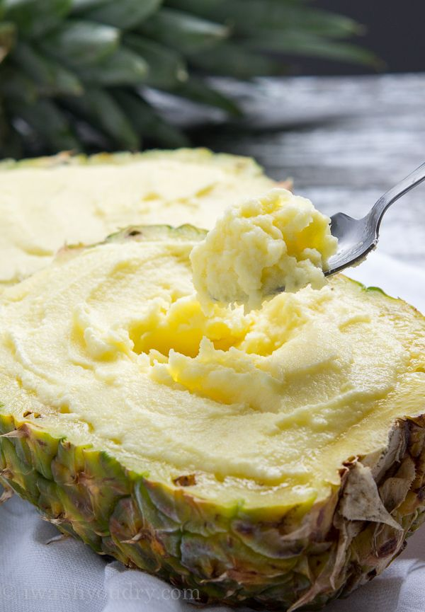 "Creamy Pineapple Sorbet. ""Full of fresh pineapple with just a hint of cream to give it an ultra luscious texture that just melts in your mouth."""