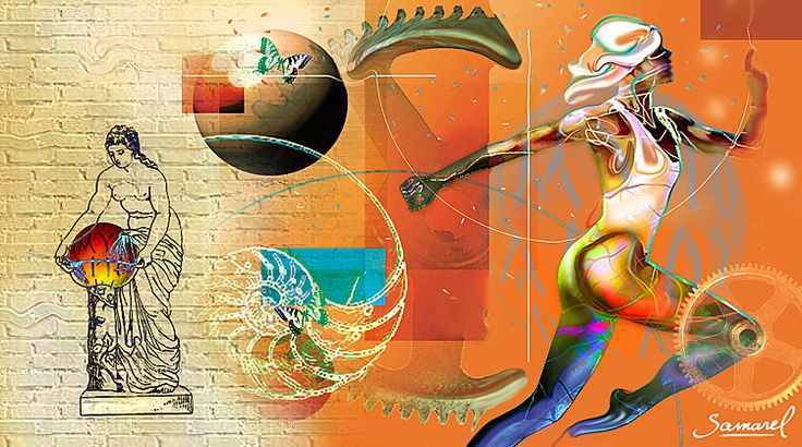 Orange Run.    Mural art - huge collages that can cover an entire wall, in your home or office.