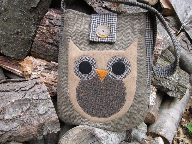 Owl totebag recycled wool applique  (Turn into Schnauzer head instead)