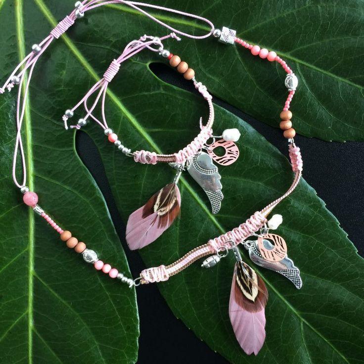 roze kettinkje en armbandje - 4leafs4joy - littlelady - kettinkje - armbandje - roze - afstelbaar - verjaardagscadeautje - lichtroze - sale on Wednesday