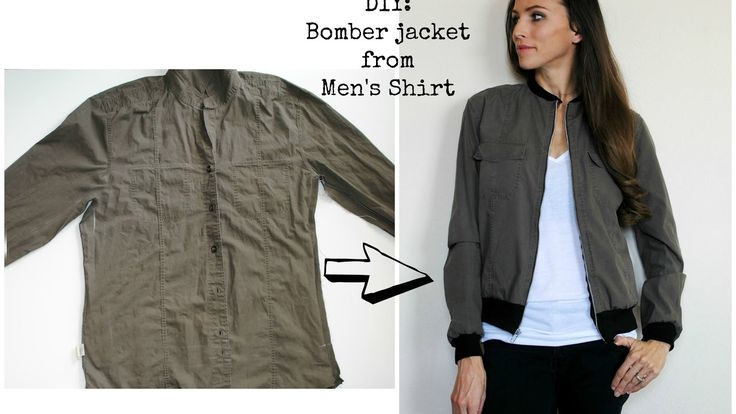 From Button Down to Bomber: Refashion a men's shirt into bomber jacket.
