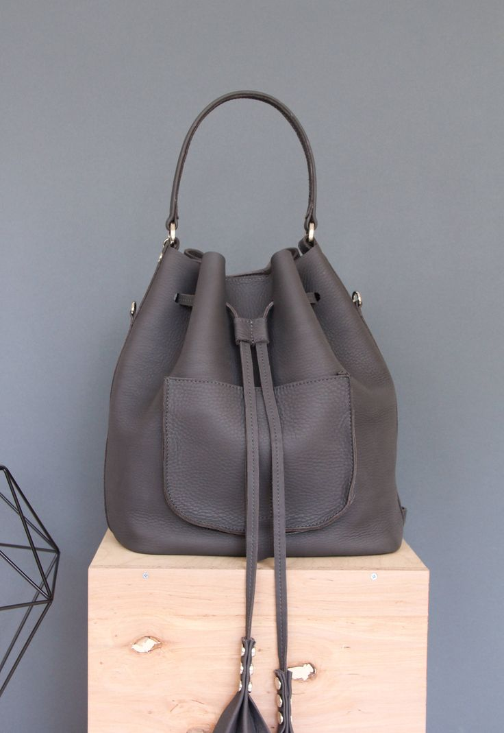 Warm Gray  leather bucket bag   bucket backpack, leather bucket bag, eather backpack   leather purse   navy blue leather   gift   Warm Gray